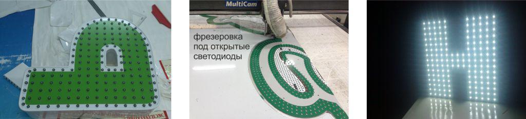 Объемные буквы с открытыми диодами